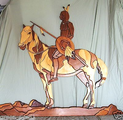 """~~ LARGE INTARSIA SOLID WOOD INLAY INDIAN ON HORSE WALL SCULPTURE ~ 60"""" x 46"""" ~~"""