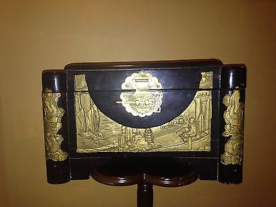 Vintege Antique Chinese Hand Carved  Chest Box