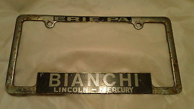 Erie, PA Bianchi Lincoln Mercury Dealership Metal License Plate Frame Tag