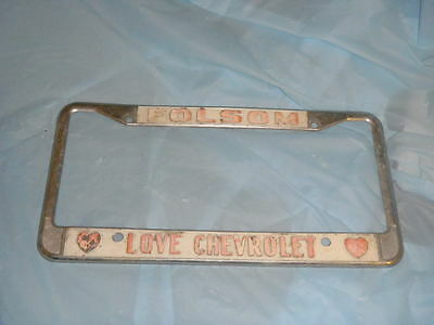Folsom CA Love Chevrolet Chevy tag license plate frame embossed hearts metal