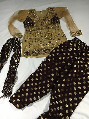 girls shalwar kameez Age 3-4 Years Indian Outfit Gold And Brown