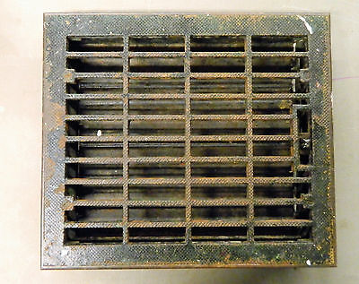 Vtg Victorian Cast Iron Heat Vent Register Grate Louver Floor 16x14 Antique Old