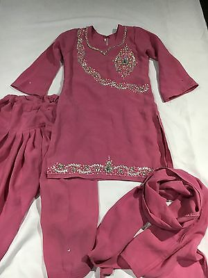 Pink Girls Indian Shalwar Kameez Age 4 Years Used