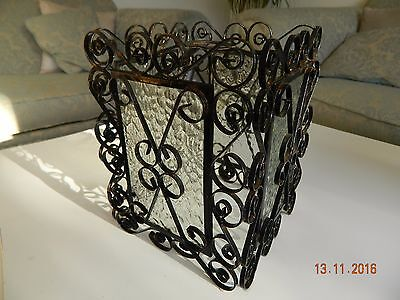 Vintage Arts & Crafts  Wrought Iron And Glass  Porch Lantern Lamp Light
