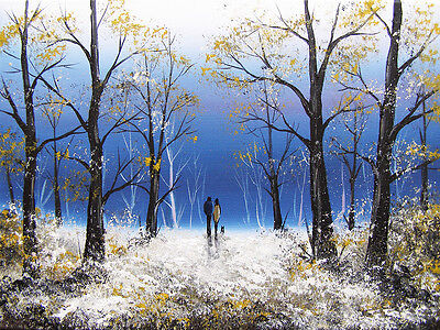 SARAH FEATHERSTONE ORIGINAL SIGNED CANVAS OIL PAINTING, Forest Walk, Winters Day