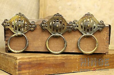 """3brass Single Post plate brass ring pulls with a 2"""" x 2 1/2"""" back plate. item381"""