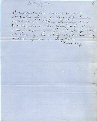 1862 Letter Signed by Maine Governor Samuel CONY