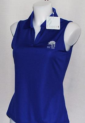 New Ladies Lopez Luster sleeveless Carbon blue polyester golf polo shirt Small
