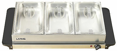 Nostalgia Living Collection 2.5-Quart 3-Station Buffet Server and Warming Tray