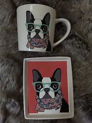 MAGENTA Hipster Dawgs Plate and Mug Set- Boston Terrier Dog