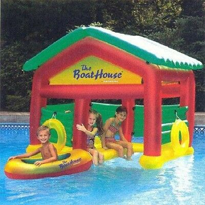 Kids Water Play Swim Time Floating Boat House with Removable Roof
