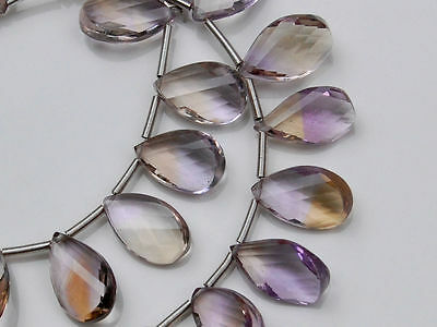 AAA Natural Ametrine Faceted Pear Twist Briolette Bead Focal Point Pendant (1pc)