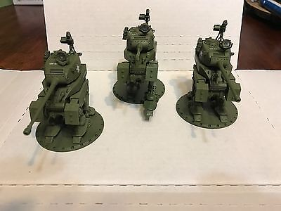 Three (3) Dust Tactics Primed Allied MCW M3 Walkers with magnetized turrets, see