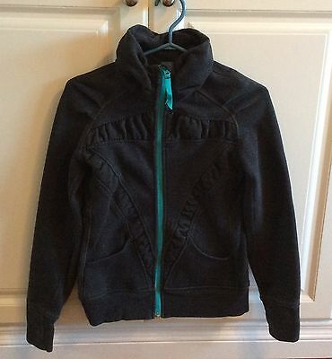 Youth Girls Ivivva Lulu Full Zip Sweater Size 14 Sparkly Charcoal Thumb Holes