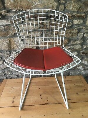 Vintage White Powder Coated Harry Bertoia Side Chair Midcentury