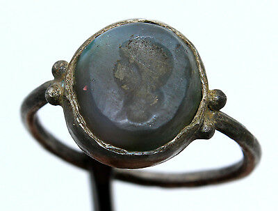 ROMAN SILVER INTAGLIO FINGER RING with  gem stone-goddess head 100-200  AD
