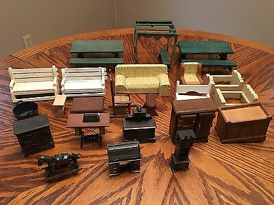 Dollhouse Furniture Lot Of 23 Pieces & Accessories Durham Wood