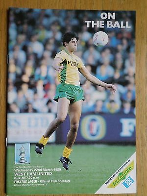 Norwich City v West Ham United 1988/89 FA Cup programme