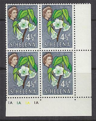 St. HELENA, 1961 QE 4 1/2d. Red-Wood Flower, Plate # block of 4, mnh.