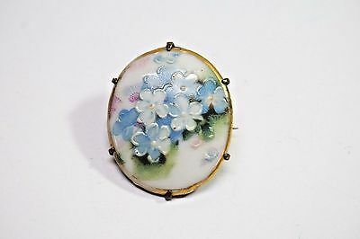 Antique Victorian Painted Porcelain Pin Brooch,Brass Backed,c.1910