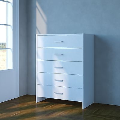 Chest of Drawers White Bedroom Furniture 5 Drawer Metal Handles & Runners