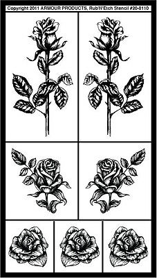 Armour Rub 'n' Etch Glass Etching Stencil  ~ Detailed Roses