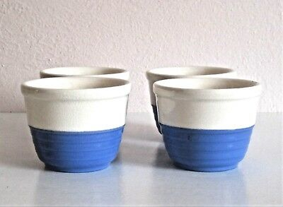 TWO Universal Cambridge Pottery  Blue & White Custard Cup Bowls - 2