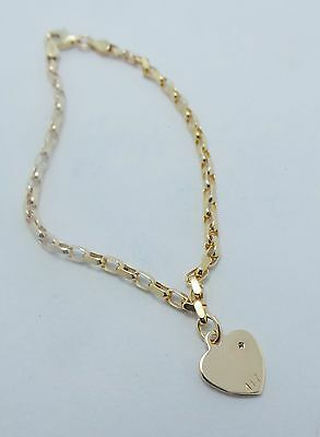 10Ct Yellow Gold Oval Belcher Link Chain Bracelet -With Heart 19 Cm - 3.91 Grams