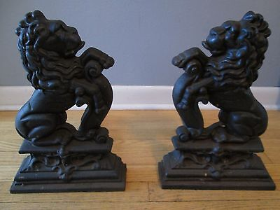 Antique Lions Andirons Cast Iron Fireplace Decoration RARE