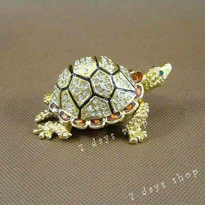 Chinese Cloisonne Enamel Turtle Statue Jewel Case Box Crystal Handcraft M21