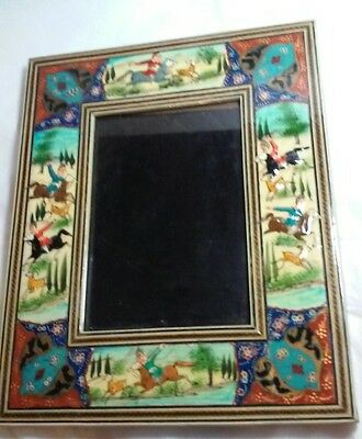 Vintage Hand Made Persian Lacquer Painted Wood Frame Horsemen & Gazelles