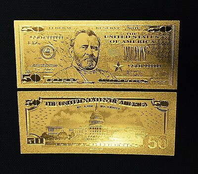 Beautiful Detail .999 24kt Gold US $50 Fifty Dollar Bill Banknote with Sleeve