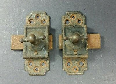 2 Antique Brass Iron Window Cabinet or Cupboard Latches Slides to Either Side #Z
