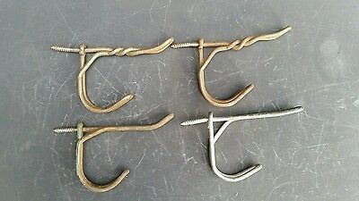 "Set 4 VINTAGE SALVAGED HARDWARE DOUBLE Twisted Wire COAT HAT HOOKS 3"" #Z29"