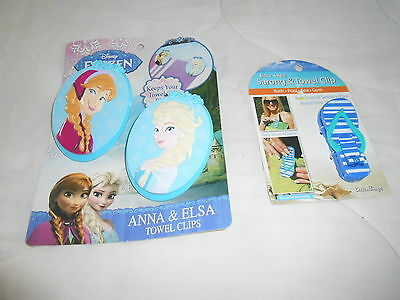 3 Boca Clips 2 Large Anna & Elsa 1 Small Flip Flop New In Package