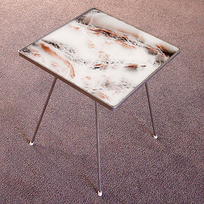 Side Table in Steel & Glass with Faux Marble Glass Top, Vintage 1950s