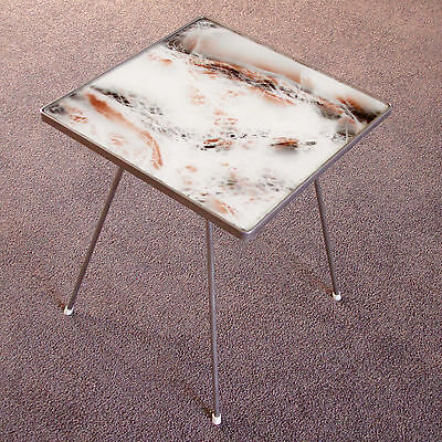 Vintage 1950s Occasional Table in Steel & Glass with Faux Marble Top