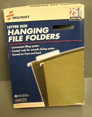 Skilcraft Letter Size Hanging File Folders, 1/5-Cut Tabs with Inserts, Pk of 25
