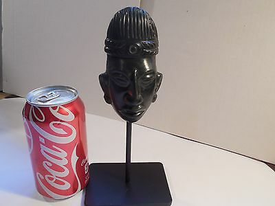 Mayan Black Jade Stone Mask Pre-Columbian Archaic Ancient Artifact Olmec Toltec