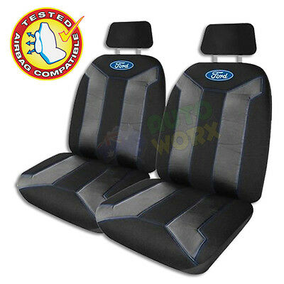 Official Licensed Ford Fusion Front Car Seat Covers Pair Black Blue Stitch New