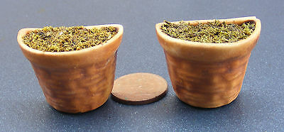 2 Filled Half Round Terracotta Pots With Woven Pattern Dolls House Miniature