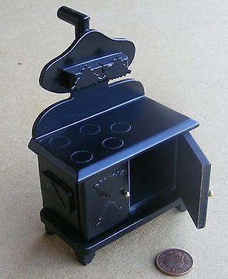 1:12 Scale Black Wooden Solid Fuel Stove Dolls House Miniature Kitchen Accessory
