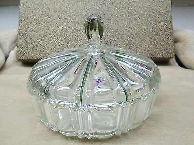 Candy Dish Clear Glass Fortune Vintage Bowl with Lid Serving Home Decor Trinket