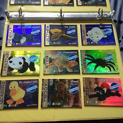 Rare TY Beanie babies Trading cards Retired Blue Complete set of 15 Series 1