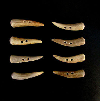 """Antler Buttons,2"""" Toggles,tines,shearling Coats,crafts,8 Curved Pieces,200-44"""