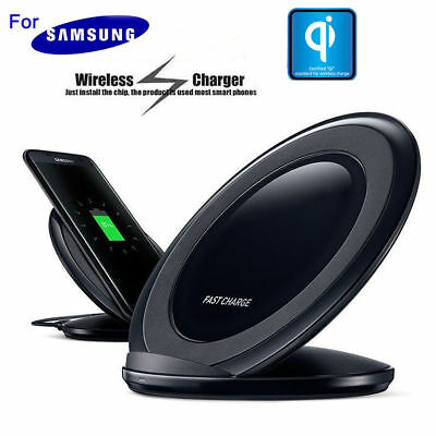 Fast Qi Wireless Charger Pad With Stand Black For Samsung Galaxy S7 Edge S6