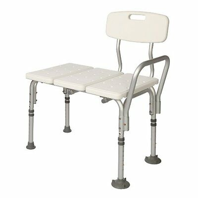 Transfer Bench Height weight Transfer Bench w/ Back Non-slip Seat White By Bathi