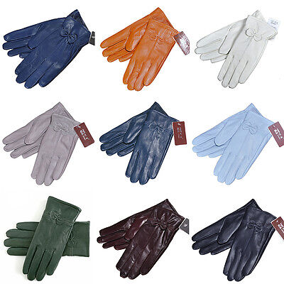 Ladies Women Soft Sheepskin Manual Leather Gloves with lining Driving Winter