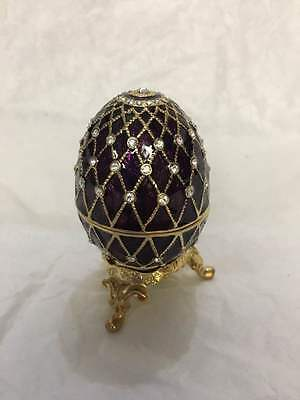 Decorated Faberge Egg Box - Maroon Color