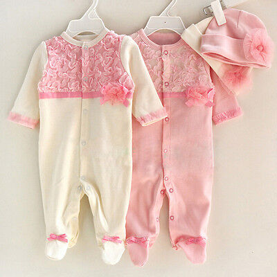 Newborn Baby Girls Infant Hat Cap+Long Sleeve Romper Bodysuit Playsuit 2PCS/Set